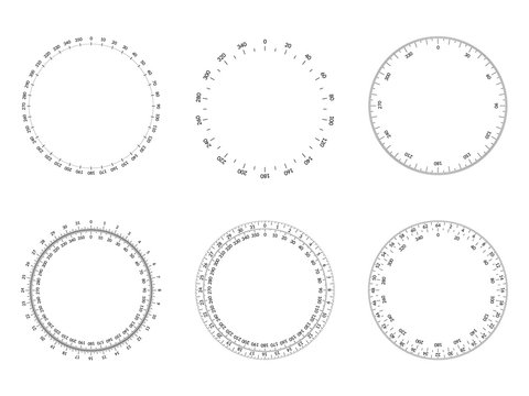 Circular protractor dial faces with editable stroke width.
