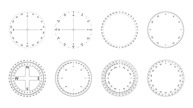 Circular protractor with dial and wind directions. Editable stroke width.
