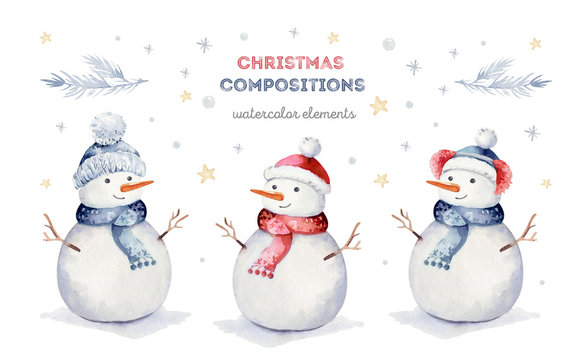 Watercolor merry christmas set of character snowmans illustration. Winter holidays cartoon isolated cute funny snowman design card. Snow holiday season xmas cards.