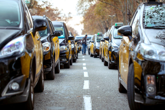 Taxi drivers strike in Barcelona. The main street of the city, blocked by taxi cars.