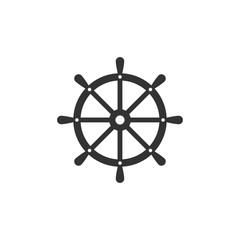 Ship steering wheel. Vector illustration, flat design.