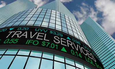 Travel Services Tourism Stock Market Industry Sector Wall Street Buildings 3d Illustration