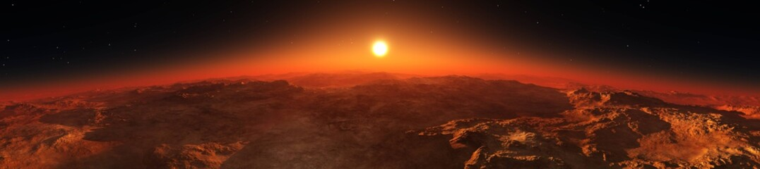 Wall Murals Deep brown Panorama of Mars from the orbit of the planet at sunrise
