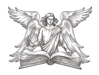 Hand drawn illustration in the engraving style, angel with a book.