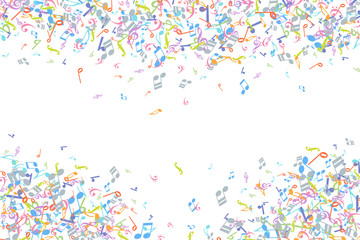 Vector colorful music notations background element in flat style