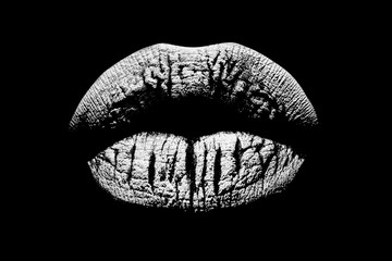 Black and white lips. Sexy female mouth. Beauty icon isolated on black background. Lip print. Kiss with love.
