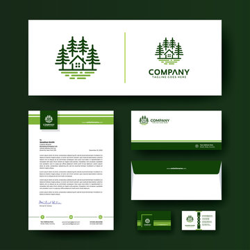 Corporate business stationery template with premium logo. Editable corporate identity template design with envelope, business card, and letterhead.