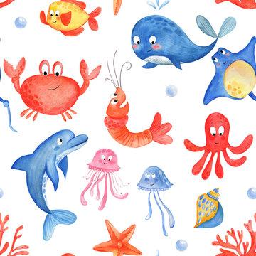 Cute sea animals watercolor pattern. Marine life: octopus, jellyfish, stingray , seashell, coral, dolphin, fish, starfish. Seamless cartoon background illustration of summer beach background.