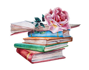High books stack with roses isolated on white background