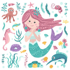 Set of cute mermaid, seaweeds and marine inhabitants . Colorful vector illustration collection