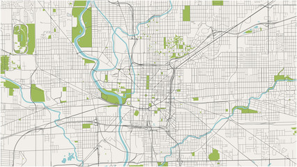 map of the city of Indianapolis, Indiana, USA