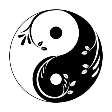 Decorative yin yang symbol. Abstract yin-yang icon with sprigs and leaves.  Symbol of unity of masculine and feminine. Vector illustration.