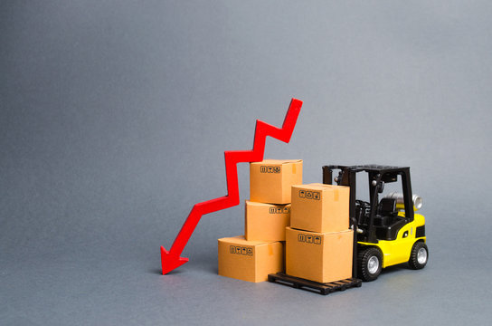 Yellow Forklift truck with cardboard boxes and a red arrow down. Concept drop in industrial production, business. economic downturn. Production, purchasing power. Reduced storage and logistics costs