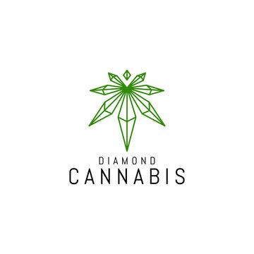 Cannabis or Hemp with Diamond Shape logo Design Template