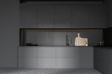 Dark gray kitchen with countertops