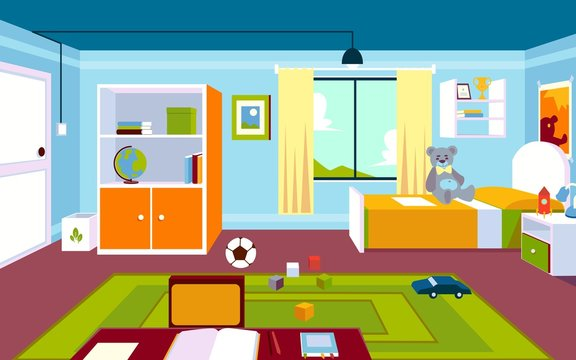 Interior of the kids room in the home in a cartoon style.