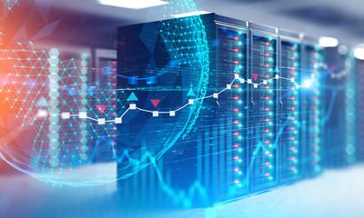 Fotobehang - Graphs and network hologram in server room