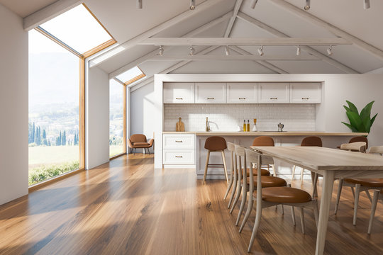 Loft Scandinavian kitchen interior, bar and table