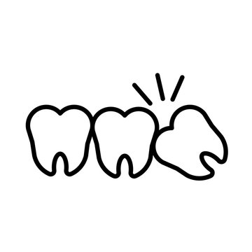 Impacted wisdom tooth for dentistry and dental surgery icon vector illustration
