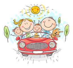 Papiers peints Cartoon voitures Happy family travelling by car, vacation trip
