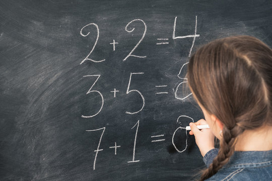 Primary school education. Back view of young girl doing sum on chalkboard at mathematics class. Copy space.