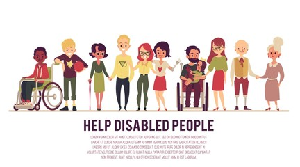 Help and support of disabled people banner flat vector illustration isolated.