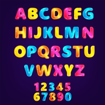 Wonderland fairy ABC or font in rainbow colors vector illustration isolated.