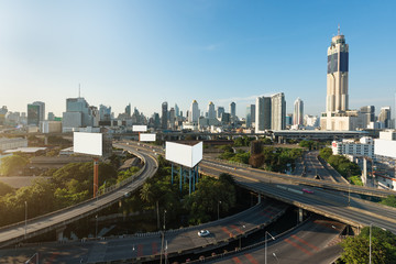 Panoramic Bangkok city building modern business district with expressway in downtown at morning in Bangkok, Thailand..