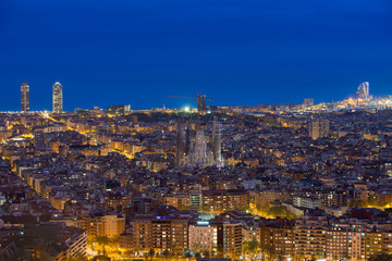 Top view of Barcelona city skyline during evening in Barcelona, Catalonia, Spain..