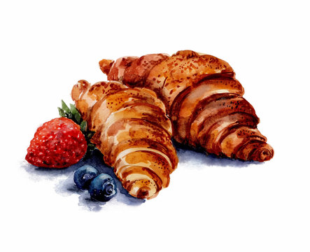Two croissants with strawberries and blueberries on white background.