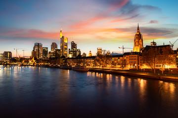 Frankfurt am main urban skyline with skyscrapers building at night in Frankfurt, Germany