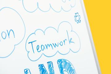 close up view of word teamwork written on white flipchart