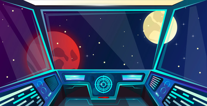 Spaceship futuristic interior of captains bridge in cartoon style. Command post. Vector illustration with radar, screen, hologram, moon, mars and stars. Space outside porthole. Cosmos vector