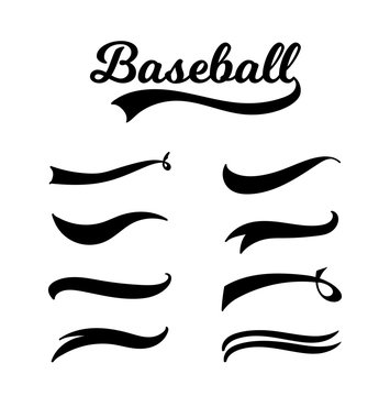 Baseball lettering and typography set with vintage swoosh collection