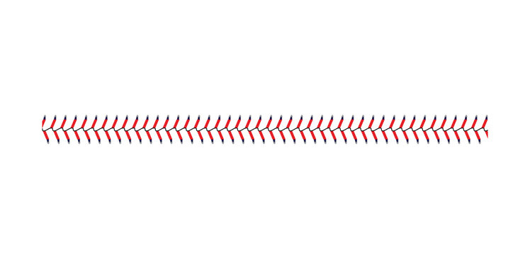 Baseball and softball lace stitch isolated on white background, straight line of sport ball seam with blue and red stitches