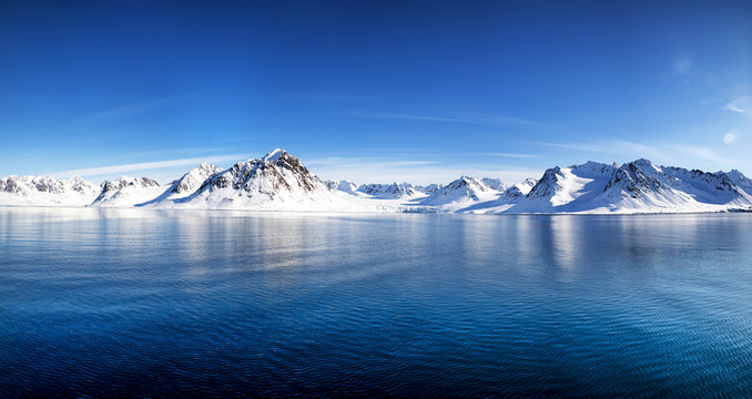 Svalbard mountains and fiords panorama