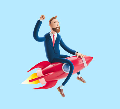 Businessman Billy flying on a rocket up. 3d illustration on blue background. Concept of  business startup, launching of a new company.