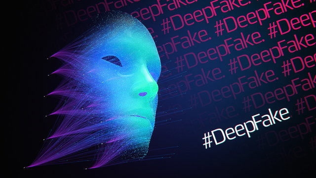 Neural Network creating DeepFake Abstract Face, Artificial Intelligence, deep fake machine learning procedural technology, Fake news creation futuristic cyber threat, social influence tech issues