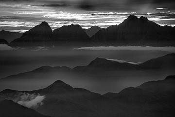 Fotobehang Alpen View of the foggy valley in Sierra Nevada de Santa Marta, Cordillera, Colombia dramatic scene, beautiful world,scenic view with cloudy sky, majestic impressive dawn in mountain landscape, wallpaper