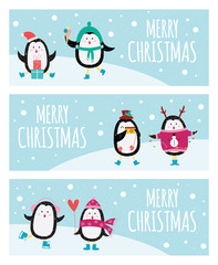 Cute cartoon penguin banner set - Merry Christmas greeting cards with cute animals