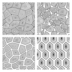 Geometric seamless art deco pattern of turtle shell vector illustration.