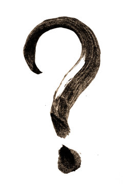 A question mark symbol by Japanese calligraphy brush