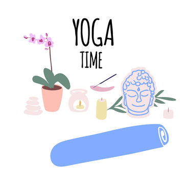 Illustration of items for yoga and meditation, yoga mat, aroma lamp, candles in cartoon style. Vector