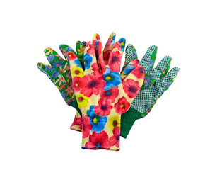 Two pair of colorful garden gloves ready for going to work