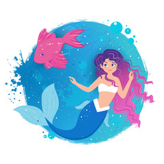 Cartoon smile mermaid with fish on a blue background.
