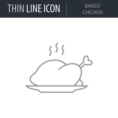 Symbol of Baked Chicken. Thin line Icon of Kitchen. Stroke Pictogram Graphic for Web Design. Quality Outline Vector Symbol Concept. Premium Mono Linear Beautiful Plain Laconic Logo