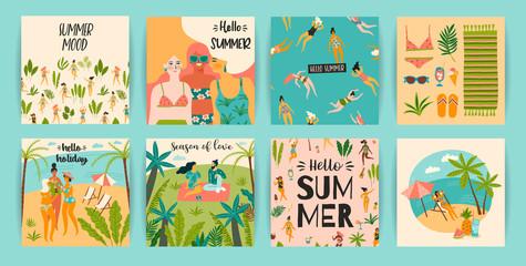 Vector templates with fun summer illustration. Design element