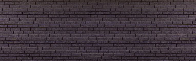 Texture of panoramic black brick wall, brickwork background for design or backdrop