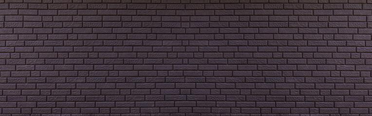 Fotobehang - Texture of panoramic black brick wall, brickwork background for design or backdrop