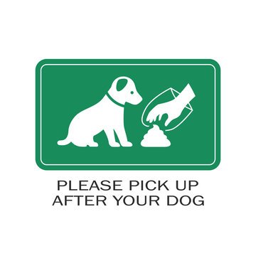 Green banner pick up after your dog